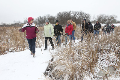 Candace H. Johnson-For Shaw Media Mary Colwell, of Libertyville, a volunteer naturalist, takes a group of people on a Bog Tour during WinterFest at the Volo Bog State Natural Area in Ingleside. (1/12/20)