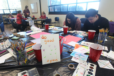 Candace H. Johnson-For Shaw Media Watercolor postcards were made during the Kindness Crafts – MLK Day ON, Not a Day Off event in honor of Martin Luther King Jr. Day at the Grayslake Area Public Library. (1/20/20)