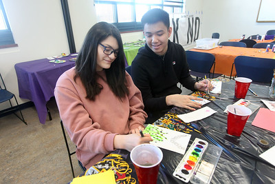 Candace H. Johnson-For Shaw Media Keira Rodriguez and Richard Tran, both 16, of Gurnee make watercolor postcards during the Kindness Crafts – MLK Day ON, Not a Day Off event in honor of Martin Luther King Jr. Day at the Grayslake Area Public Library. (1/20/20)