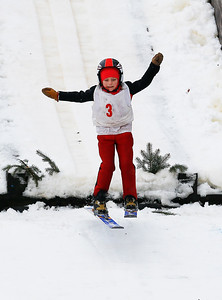 Addilynn Mjolsness (3) jumps off the 5M hill at the Norge Ski Club International Winter Ski Tournament 2020 held on Saturday, January 25, 2020 in Fox River Grove, IL. Saturday's events included junior competitions. The K70 event was canceled due deteriorating weather conditions.