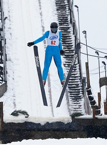 Andrew Lukanus (62) jumps from the 40M hill at the Norge Ski Club International Winter Ski Tournament 2020 held on Saturday, January 25, 2020 in Fox River Grove, IL. Saturday's events included junior competitions. The K70 event was canceled due deteriorating weather conditions.