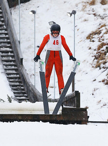 Beth Frolik (46) jumps the 25M hill at the Norge Ski Club International Winter Ski Tournament 2020 held on Saturday, January 25, 2020 in Fox River Grove, IL. Frolik placed first in her class (K25 Open Female). Saturday's events included junior competitions. The K70 event was canceled due deteriorating weather conditions.