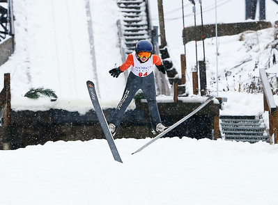 Isak Nichols (64) jumps from the 40M hill at the Norge Ski Club International Winter Ski Tournament 2020 held on Saturday, January 25, 2020 in Fox River Grove, IL. Saturday's events included junior competitions. The K70 event was canceled due deteriorating weather conditions.