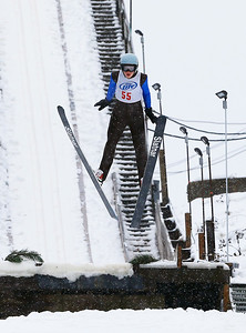 Tyler Phillips (55) jumps from the 40M hill at the Norge Ski Club International Winter Ski Tournament 2020 held on Saturday, January 25, 2020 in Fox River Grove, IL. Saturday's events included junior competitions. The K70 event was canceled due deteriorating weather conditions.