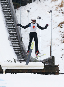 Liesel Bakk-Hansen (45) jumps from the 25M hill at the Norge Ski Club International Winter Ski Tournament 2020 held on Saturday, January 25, 2020 in Fox River Grove, IL. Saturday's events included junior competitions. The K70 event was canceled due deteriorating weather conditions.