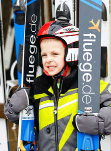 Frank Huschitt (4) from Fox River Grove waits for the start of the Norge Ski Club International Winter Ski Tournament 2020 held on Saturday, January 25, 2020 in Fox River Grove, IL. Saturday's events included junior competitions. The K70 event was canceled due deteriorating weather conditions.