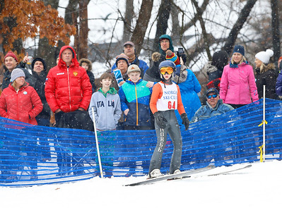 Isak Nichols (64) awaits his results after jumping from the 40M hill at the Norge Ski Club International Winter Ski Tournament 2020 held on Saturday, January 25, 2020 in Fox River Grove, IL. Saturday's events included junior competitions. The K70 event was canceled due deteriorating weather conditions.