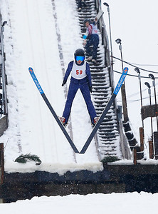 Maxim Glyvka (50) jumps from the 40M hill at the Norge Ski Club International Winter Ski Tournament 2020 held on Saturday, January 25, 2020 in Fox River Grove, IL. Saturday's events included junior competitions. The K70 event was canceled due deteriorating weather conditions.