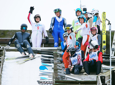 Competitors await their turn at the 70 Meter jump at the Norge Ski Club International Winter Ski Tournament 2020 held on Sunday, January 26, 2020 in Fox River Grove, IL. Sunday's events included Junior Natonal Qualifiers, the K70 US Cup Five Hills Tournament, and Long-Standing Jump.