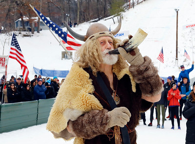 Marty Knapp of Fox River Grove blows his horn to signal the start of the Norge Ski Club International Winter Ski Tournament 2020 held on Sunday, January 26, 2020 in Fox River Grove, IL.