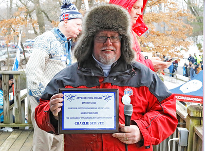 Charlie Sedivec was recognized for his 50 years of announcing services to the Norge Ski Club. The International Winter Ski Tournament 2020 was held on Sunday, January 26, 2020 in Fox River Grove, IL.