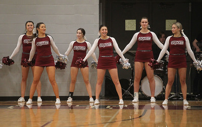 Candace H. Johnson-For Shaw Media Antioch's cheerleaders share a laugh as they cheer on the boys varsity basketball team as they play Grayslake Central at Antioch Community High School. Grayslake Central won 49-32.  (1/28/20)