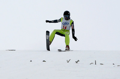 Andrew Lukanus competes in the U20 Male Division of the 116th Norge Annual Winter Ski Jump Tournament at the Norge Ski Club in Fox River Grove, Ill., on Saturday, Jan. 30, 2021.