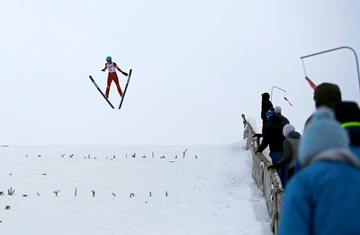 Casey Flett competes in the U20 Male Division of the 116th Norge Annual Winter Ski Jump Tournament at the Norge Ski Club in Fox River Grove, Ill., on Saturday, Jan. 30, 2021.