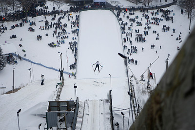 Carter Lee jumps while competing in the 116th Norge Annual Winter Ski Jump Tournament at the Norge Ski Club in Fox River Grove, Ill., on Sunday, Jan. 31, 2021.