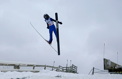Nathan Krotz jumps while competing in the 116th Norge Annual Winter Ski Jump Tournament at the Norge Ski Club in Fox River Grove, Ill., on Sunday, Jan. 31, 2021.