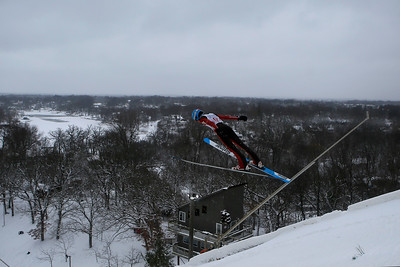 Casey Flett jumps while competing in the 116th Norge Annual Winter Ski Jump Tournament at the Norge Ski Club in Fox River Grove, Ill., on Sunday, Jan. 31, 2021.