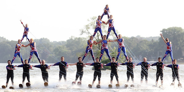 Mike Greene - mgreene@shawmedia.com Members of the Wonder Lake Ski Show Team perform their final pyramid during an Independence Day Show Wednesday, July 4, 2012 at Center Beach in Wonder Lake.