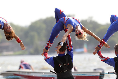Mike Greene - mgreene@shawmedia.com Lindsey Seecup performs a back drape on strap doubles with other members of the Wonder Lake Ski Show Team  during an Independence Day Show Wednesday, July 4, 2012 at Center Beach in Wonder Lake.
