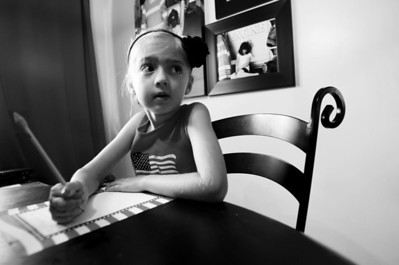Sarah Nader - snader@shawmedia.com Alexandra Stephens, 6, of Cary, writes a letter to an active service member overseas For Operation Letters of Love while at her home in Cary on Friday, July 6, 2012. Operation Letters of Love was started just over two weeks ago by Stephens and her aunt, Beth Douglass and they have already sent around 26 letters to service men overseas.