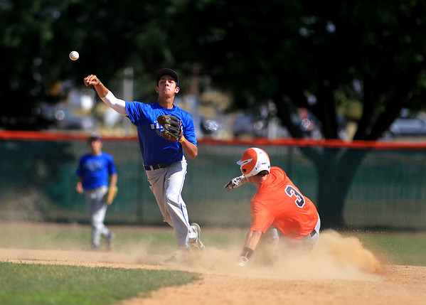 Geneva's Luke Polishak throws to first after St. Charles East's Jack Dellostritto was out at second during their game at East Tuesday afternoon.