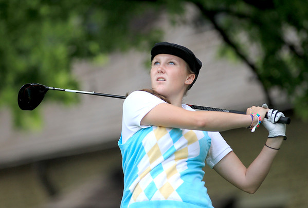 St. Charles North's Jordyn McFarlane tees off during the final round of the St. Charles Junior Tournament at Pottawatomie Golf Course Thursday.