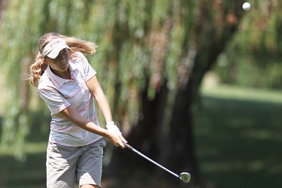 Mike Greene - mgreene@shawmedia.com Kaylee Ross hits an approach shot during the McHenry County Junior Golf Association's Cary Open Friday, July 20, 2012 in Cary. Ross took first place in the girls senior division with a 44 for the round after defeating Delainey Peterson in a playoff.