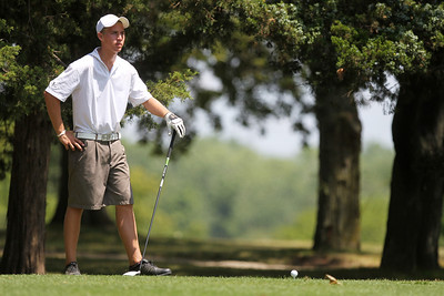 Mike Greene - mgreene@shawmedia.com Timothy Wancket waits to tee off on the 9th hole during the McHenry County Junior Golf Association's Cary Open Friday, July 20, 2012 in Cary. Wancket shot a 83 for the round.