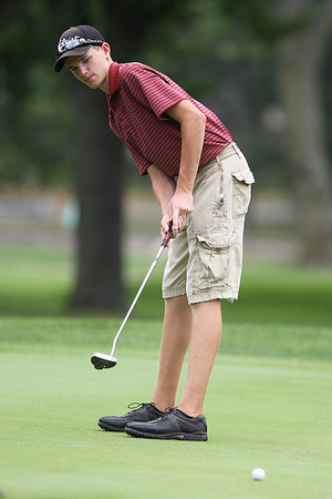 Mike Greene - mgreene@shawmedia.com Hunter Simonini putts during the McHenry County Junior Golf Association's McHenry Open Monday, July 23, 2012 at the McHenry Country Club in McHenry. Simonini shot a 85 for the open, earning him a tie for fourth place in the Boys Junior Division.