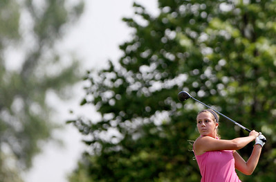 Sarah Nader - snader@shawmedia.com Brianna Digrazia, 16, of Crystal Lake  watches her shot during the McHenry County Junior Golf Association's Prairie Isle Open in Prairie Grove on Wednesday, July 25, 2012.