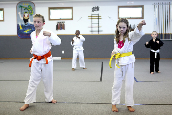 Sandra Holleran (left), 11, and Hailey Corso, 8, train at Rocky's Dojo and Gym in Sugar Grove Tuesday evening.