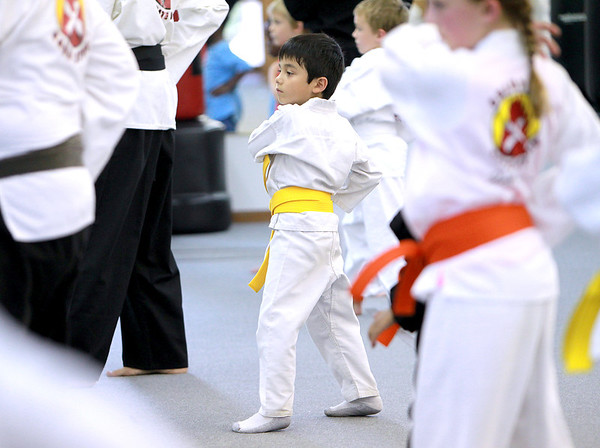Sean Butolph, 5, trains at Rocky's Dojo and Gym in Sugar Grove Tuesday evening.