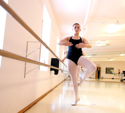 "Jessi Kennedy, a dancer from Lifetime's ""Dance Moms: Miami,"" rehearses at State Street Dance Studio in Geneva with the studio's ballet technique class. Kennedy is preparing for a competition at Phesant Run Resort in St. Charles."