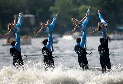 Kyle Grillot - kgrillot@shawmedia.com  The Wonder Lake Ski Team performs a stunt during the Wonder Lake 4th of July Water Ski Show at Center Beach on East Lake Shore Drive.