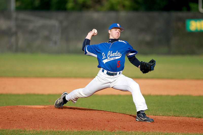 Collin Peterson pitches for St. Charles American Legion Post 342 during their game against Hampshire Post 680 at St. Charles North High School Tuesday.