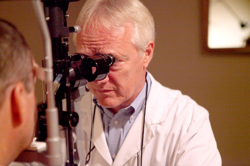 Dr. Norbert Becker examines patient Jay Richardson at the Geneva Eye Clinic. The Geneva Eye Clinic has become a partner with the Foundation to Fight Blindness, a national organization dedicated to promoting retinal health & research into conditions that lead to blindness, such as macular degeneration.