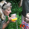 Barb McKittrick, a naturalist with the Forest Preserve District of Kane County, shows a captured moth to Grace Vanderheyden, 5, of Sugar Grove during a butterfly hunt at the Dick Young Forest Preserve in Batavia on Saturday. During the hunt, McKittrick also pointed out egg sacs for different insects, such as praying mantises, and showed a milkweed leaf, the food of a monarch butterfly.