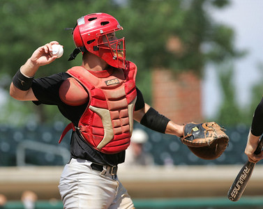 H. Rick Bamman - hbamman@shawmedia.com Huntley catcher Mark Skonieczny during the Illinois High School Coaches Association's Lawler Sumer Classic at Benedictine University in Lisle Monday, July 22, 2013.