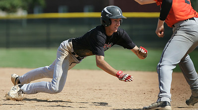 H. Rick Bamman - hbamman@shawmedia.com Huntley's Trevor Symbal jumps back to first avoiding the pick off attempt by Libertyville in the second inning in the Lawler Summer Classic at Benedictine University in Lisle Monday, July 22, 2013.