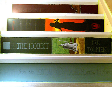 H. Rick Bamman -hbamman@shawmedia.com  Some of the book spines painted by McHenry East senior Kim McClaughry (cq) at the River East Library in Lakemoor.