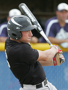 H. Rick Bamman - hbamman@shawmedia.com Huntley's Matt Blain connects for a double in the first inning in the Lake Park Regional final of the Phil Lawler Baseball Classic.