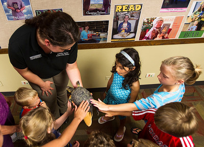 Kyle Grillot - kgrillot@shawmedia.com   McHenry County Conservation District Wildlife Resource Specialist Beth Gunderson holds Rae the Blanding's turtle for children to pet during the Animals of McHenry County presentation at the Crystal Lake Public Library Tuesday, July 23, 2013. The presentation gives children and parents the opportunity to learn more of the history of animals in the region as well as meet this special visitor.