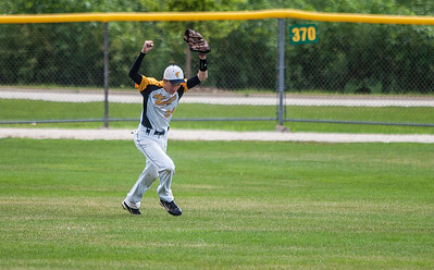 Kyle Grillot - kgrillot@shawmedia.com   Lake in the Hills' Jack Schneider celebrates after catching the game winning fly ball during the MCYSA game against the Bartlett Silver Hawks Saturday, July 27, 2013. The Thunder beat the Silver Hawks 6-5.