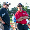 Kaneland Head Coach Tom Fedderly (Left) speaks with Aurora Christian Head Coach Dave Beebe prior to the start of the Aurora Christian 7 on 7 Football Competition at Aurora Christian High School in Aurora , IL on Tuesday, July 08, 2014 (Sean King for Shaw Media)