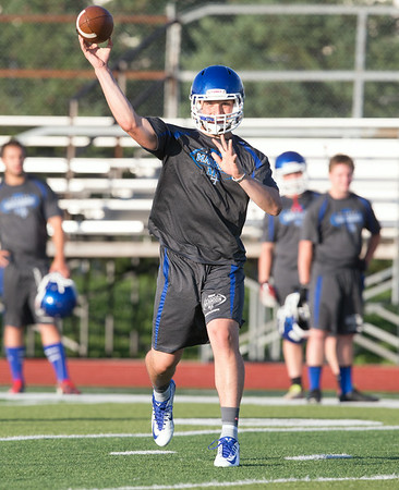 Marmion Quarterback Johnny Tate throws a pass against Kaneland during the Aurora Christian 7 on 7 Competition at Aurora Christian High School in Aurora , IL on Tuesday, July 08, 2014 (Sean King for Shaw Media)