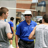 Jeff Krage – For Shaw Media<br /> Former NFL quarterback and 1979 St. Charles High School graduate Randy Wright chats with athletics during  the Trickey-Wright QB/Receivers camp on Saturday at St. Charles North High School.<br /> St. Charles 7/19/14