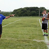 Jeff Krage – For Shaw Media<br /> Former NFL quarterback and 1979 St. Charles High School graduate Randy Wright leads the Trickey-Wright QB/Receivers camp on Saturday at St. Charles North High School.<br /> St. Charles 7/19/14