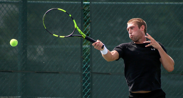 Mike Greene - For Shaw Media  Sam Sweeney during Men's Open Singles championship match against John Cincola in the McHenry County Tennis Classic Sunday, July 10, 2016 at The Racket Club in Algonquin. Cincola won the match 6-2, 7-5.