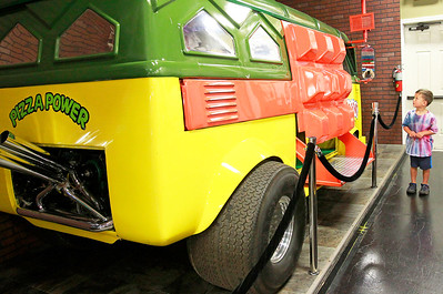 Candace H. Johnson Nathaniel Gilbert, 4, of Crystal Lake looks up at the Teenage Mutant Ninja Turtles van, a 1957 Volkswagen Vanagon, at the Volo Auto Museum in Volo.