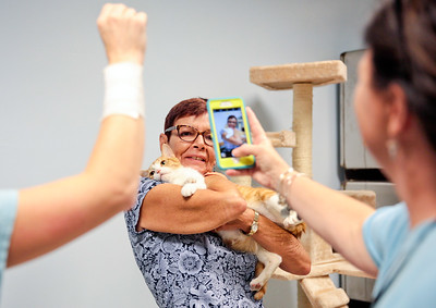 Michelle LaVigne/ For Shaw Media Stacey Trost of Lake in the Hills has her photo taken with Ogden, as she finalizes her adoption from the  McHenry County Animal Control during the Clear the Shelter event , on Saturday, July 23rd, 2016.